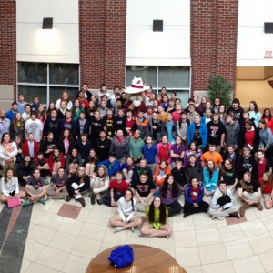 Clark Middle School students with the EKU Colonel